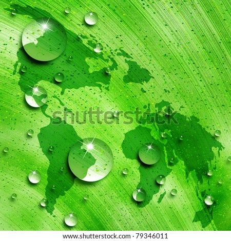 Map of the world against the background of water drops on green leaf, environmental concept