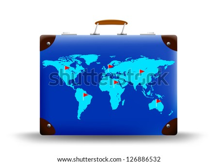 map of the world depicted on suitcase