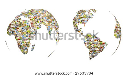 Map of the world from set of photos - stock photo