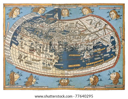 Map of the world in those days known after claudius ptolemy s work