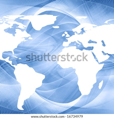 map of the world on a blue background
