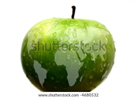 map of the world on an apple