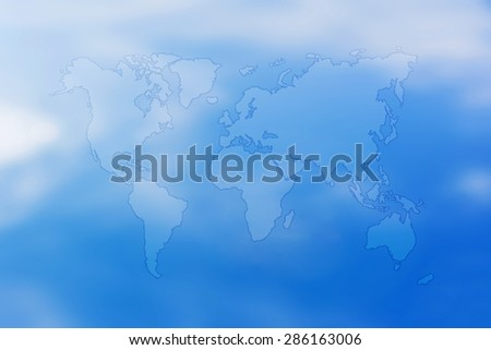 map of the world on sky background.