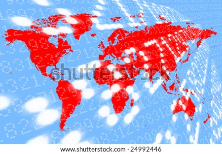 map of the world overlaid with financial data; suggests global recession, global markets etc; background, concept etc