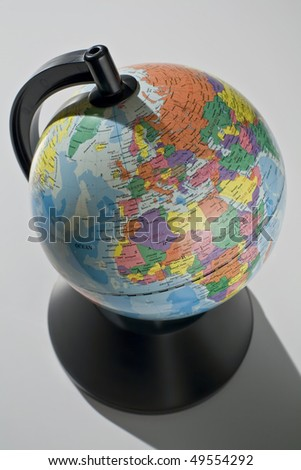 Map of the world showing Europe and Africa on white