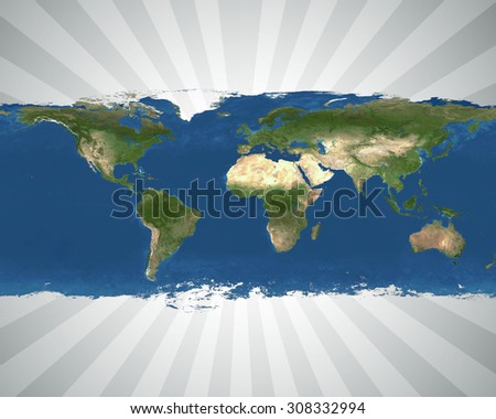map of the world with a white and black sun burst effect behind it