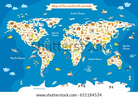 Map of the World with animals. Beautiful colorful illustration with the inscription of the oceans and continents. Preschool, for baby, children, kids and all people