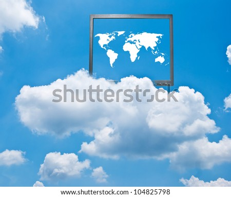 Photo of Map of the world with computer monitor on the cloud, the image ideas for cloud computing concept