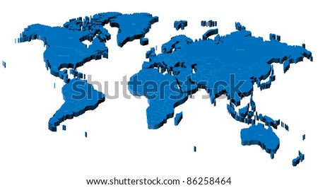 Map of the World with national borders and country names. Raster version. Vector version is also available.