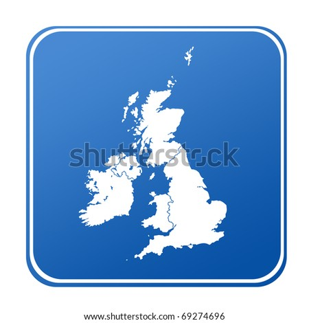 Map of UK on blue button; isolated on white background.