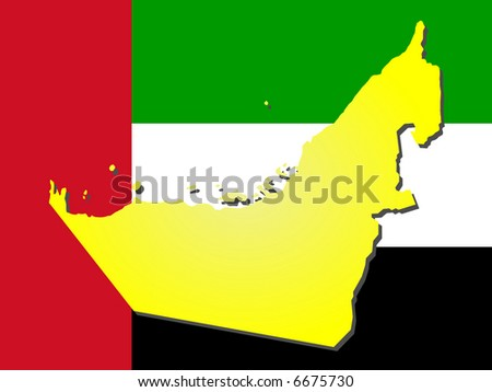 map of United Arab Emirates and their flag illustration JPG