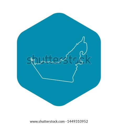 Map of United Arab Emirates icon. Outline illustration of map of United Arab Emirates icon for web