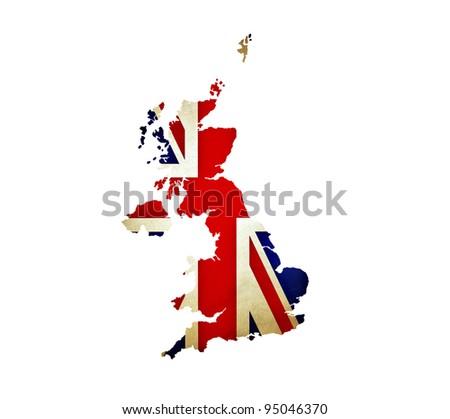 Map of United Kingdom isolated
