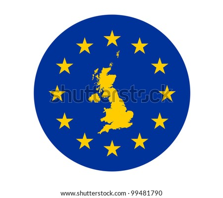 Map of United Kingdom on European Union flag with yellow stars.