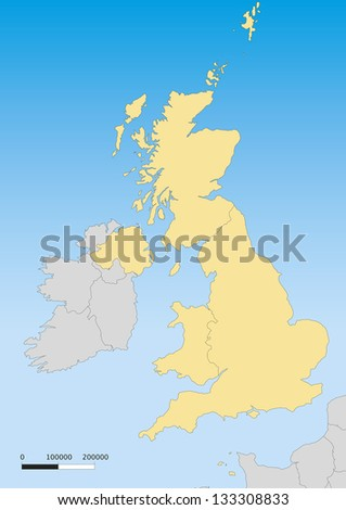 Map of United Kingdom with islands. Scale 1:4500000
