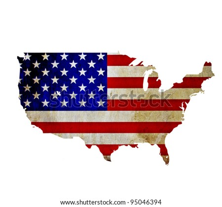 Map of United States of America isolated - stock photo