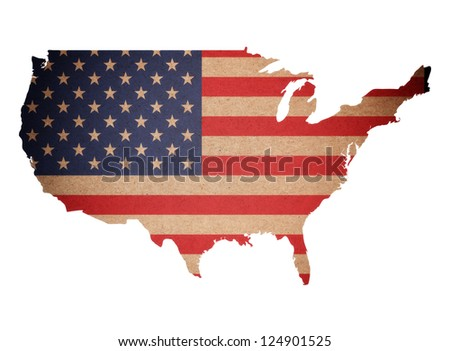 Map of United States of America on recycled paper texture isolated