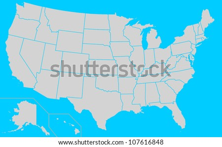 Map of United States of America showing borders of different electoral states, blue background.