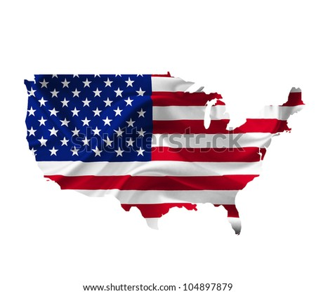 Map of United States of America with waving flag isolated on white