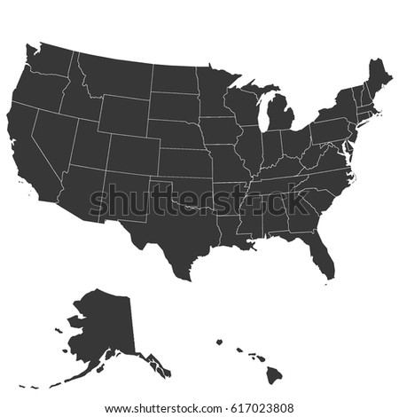 Map of United States with state boundaries at high resolution.