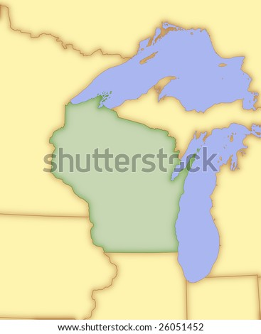 Map Of Wisconsin With Borders Of Surrounding States Stock Photo 26051452