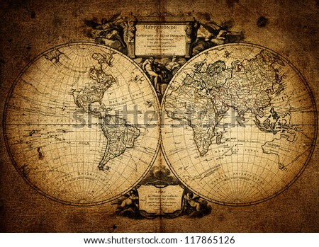 map of world  1752 - stock photo