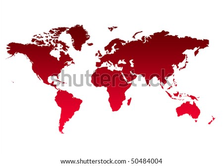 Map of World or Planet Earth in gradient red, isolated on white background. #50484004