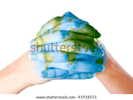 Map of world painted on hands. Isolated on white background - stock photo