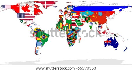 Map of World with flags in relevant countries, isolated on white background.