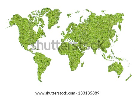MAP of World with green leave design