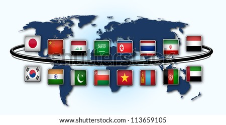 Map of world with national flags