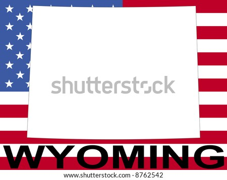 map of Wyoming on American flag illustration