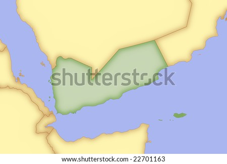 stock photo : Map of Yemen,