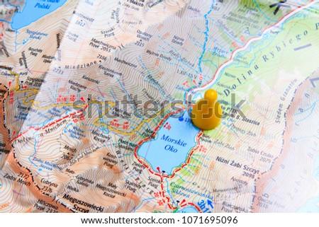 Map of Zakopane close up. Walking route through the mountains. Adventure and hiking on European routes #1071695096
