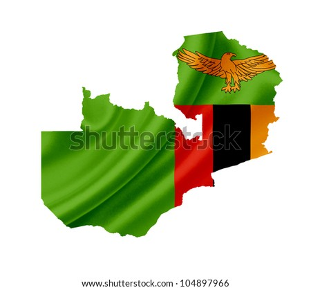 Map of Zambia with waving flag isolated on white