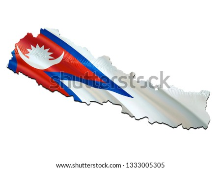 Map on Nepal waving Flag. 3D rendering Nepal map and waving flag on Asia map. The national symbol of Nepal. Nepal flag on Asia background. National Kathmandu flag