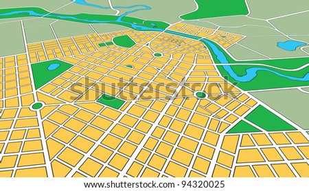 Map or plan of generic urban city showing streets and parks in perspective angle