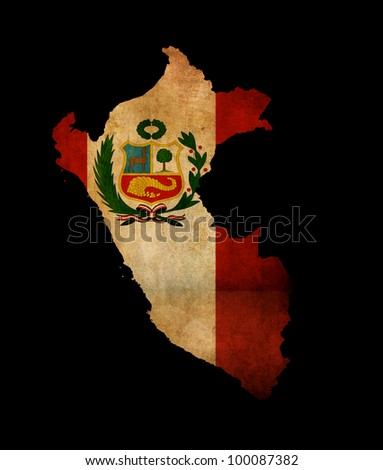 Map outline of Peru isolated on black with grunge effect flag insert