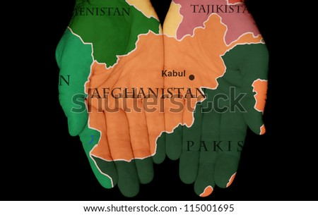 Map Painted On Hands Showing The Concept Of Having Afghanistan In Our Hands
