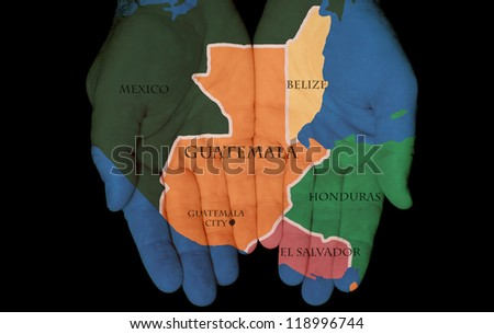 Map Painted On Hands Showing The Concept Of Having Guatemala In Our Hands