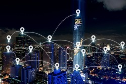 Map pin at smart city and wireless communication network, business district with office building, abstract image visual, internet of things concept