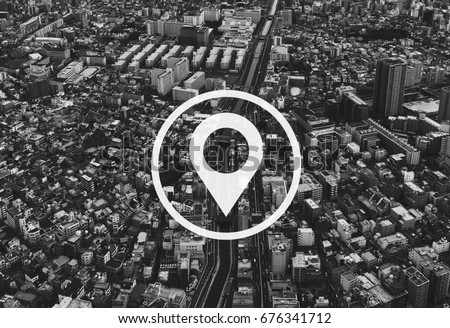 Map Pin Location Direction Position Graphic #676341712