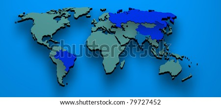 Map rendered formed by the BRIC countries Brazil, Russia, India and China