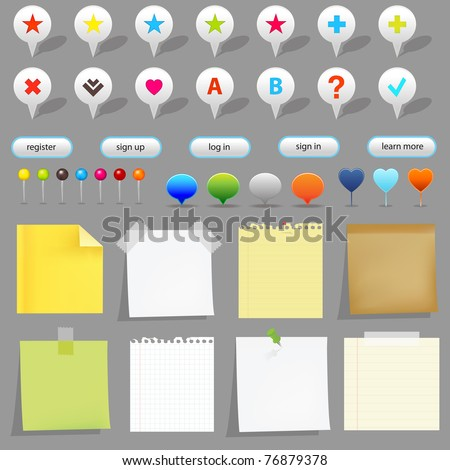 Map Set, Isolated On White Background
