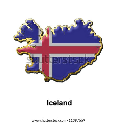 map shaped flag of Iceland in the style of a metal pin badge