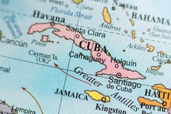 Map view of Camaguey, Cuba on a geographical map of North Americ