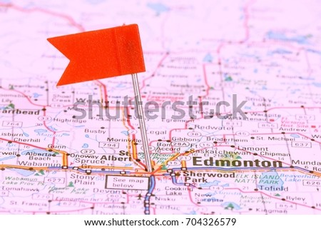 Map view of Alberta, Canada on a geographical map  Images and Stock