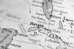 Map view of Havana, Cuba on a geographical map.