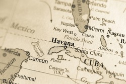 Map view of Havana, Cuba on a geographical map of North America.