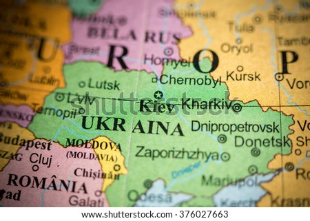 Map View Of Kiev Ukraine On A Geographical Map Of Europe Ez Canvas